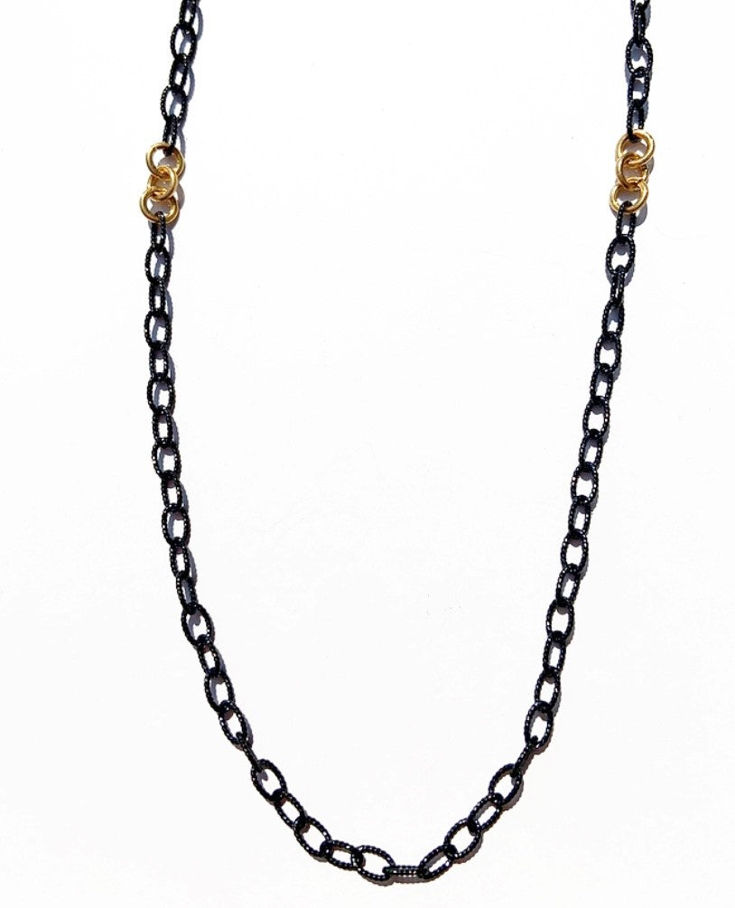 Emerson Black Rhodium Chain with Gold Overlay Engraved Links 18