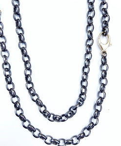 Sterling Silver Black Rhodium Polished Round Link Chain with Gold Plated Lobster Clasp
