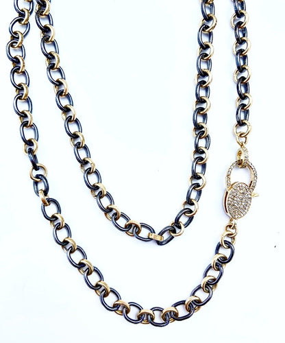 Sterling Silver Alternating Black and Gold Plate Round Link Necklace with Diamond Clasp 34
