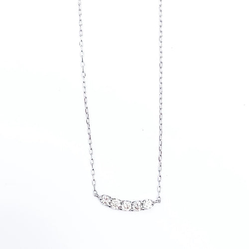5 Diamond Line White Gold Necklace