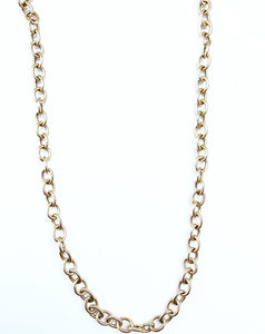 Sterling Silver Polished Gold Plated Oval Link Necklace
