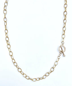 "18"" Sterling Silver Textured Link Gold Plate Necklace with Diamond Toggle Clasp"
