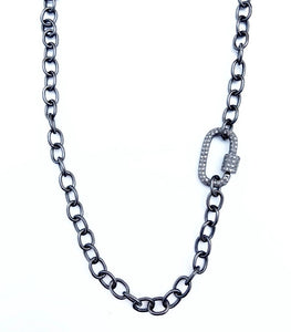Black Rhodium and Diamond Clasp Necklace