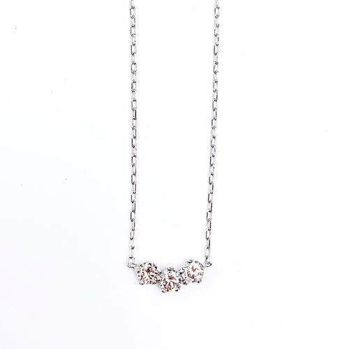 Three Diamond Bar White Gold Necklace