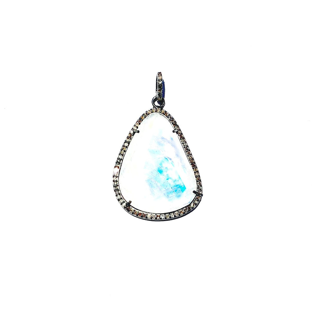 Rainbow Moonstone & Diamond Slice Enhancer