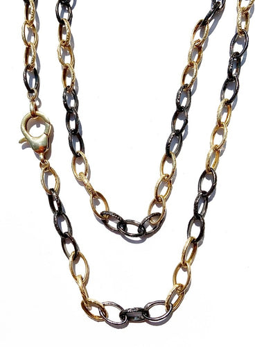 Sterling Silver Alternating Three-Link Black and Gold Plated Necklace with Lobster Clasp