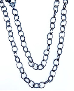 "36"" Black Rhodium Faceted Medium Oval Link Chain"