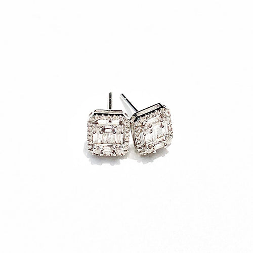 Rectangular Diamond White Gold Stud Earrings