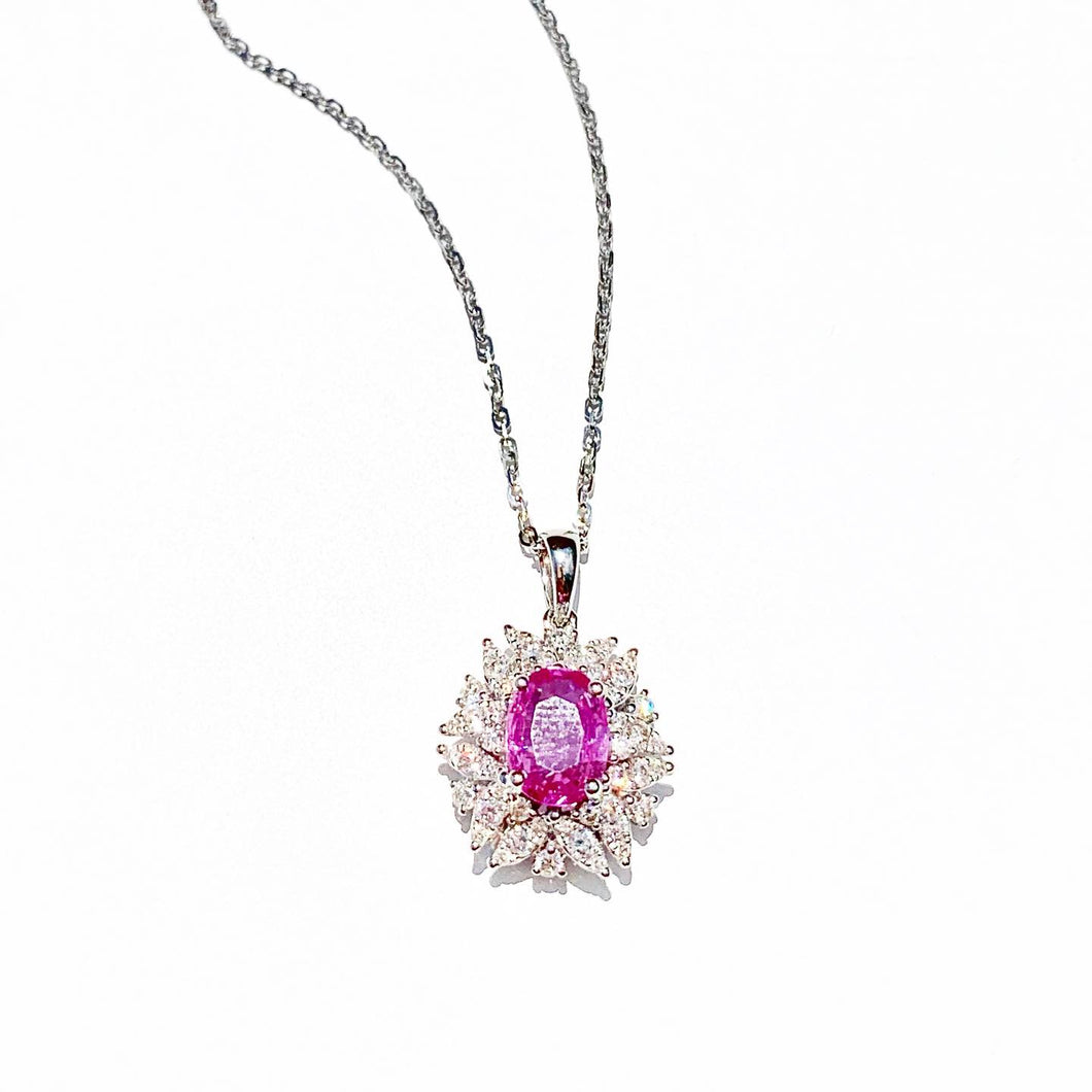 Pink Sapphire and Diamond White Gold  Necklace