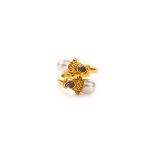 Baroque Wrap Ring Gold Pearl with Labradoriteaccents Size 7-Julie Vos-Anna Cate Fine Fashion Jewelry