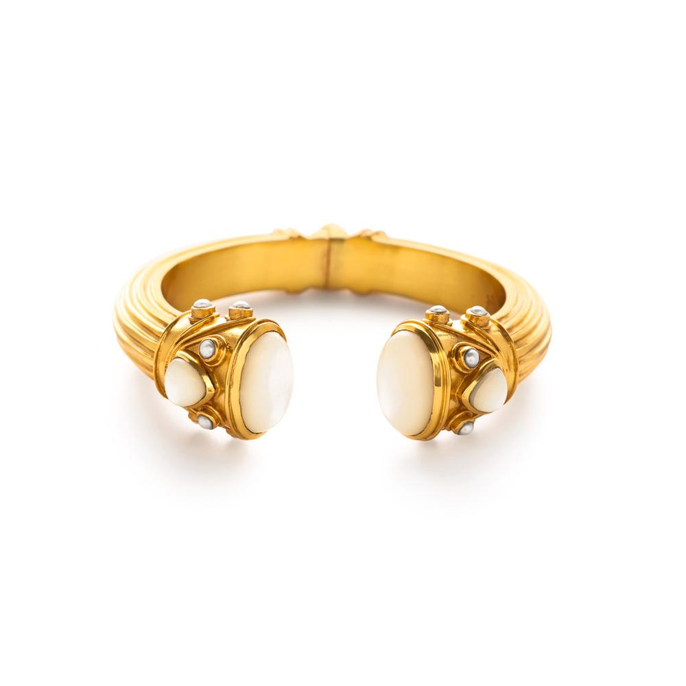 Byzantine Demi Hinge Cuff Gold Mother of PearlEndcaps with Fresh Water Pearl accents-Julie Vos-Anna Cate Fine Fashion Jewelry