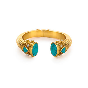 Byzantine Demi Hinge Cuff Gold Turquoise Blue Endcaps with Turquoise Blue and Fresh WaterPearl accents-Julie Vos-Anna Cate Fine Fashion Jewelry