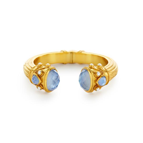 Byzantine Hinge Cuff Gold Iridescent Chalcedony Blue Endcaps with IridescentChalcedony Blue and Pearl Accents-Julie Vos-Anna Cate Fine Fashion Jewelry