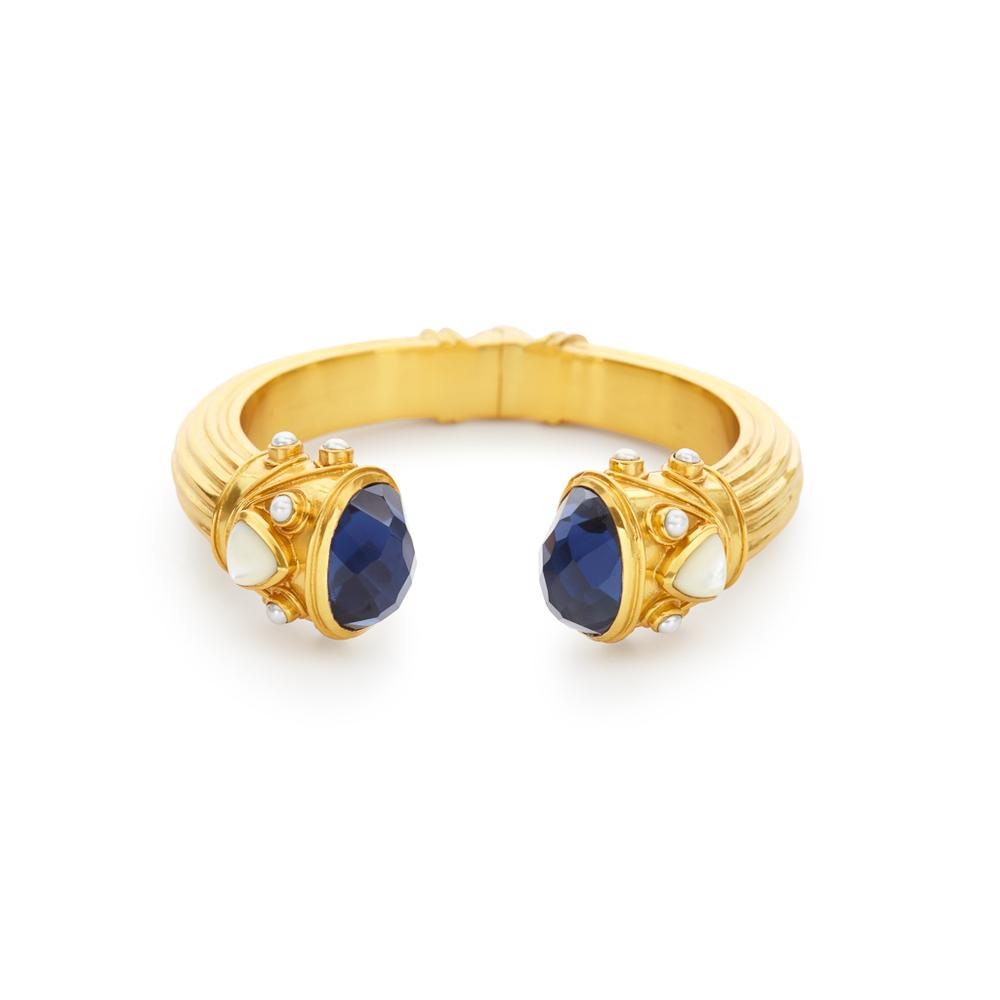 Byzantine Hinge Cuff Gold Sapphire BlueEndcaps with Sapphire Blue and Pearl Accents-Julie Vos-Anna Cate Fine Fashion Jewelry