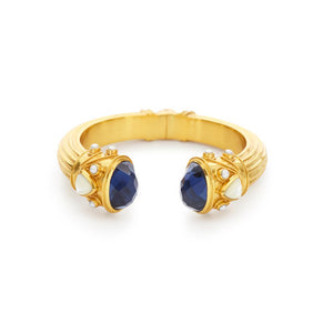 Byzantine Demi Hinge Cuff Gold Sapphire Blue Endcaps with Sapphire Blue and Fresh WaterPearl accents-Julie Vos-Anna Cate Fine Fashion Jewelry