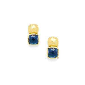 Catalina Earring Gold Sapphire Blue-Julie Vos-Anna Cate Fine Fashion Jewelry