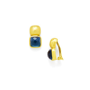Catalina Clip-On Gold Faceted Sapphire Blue-Julie Vos-Anna Cate Fine Fashion Jewelry