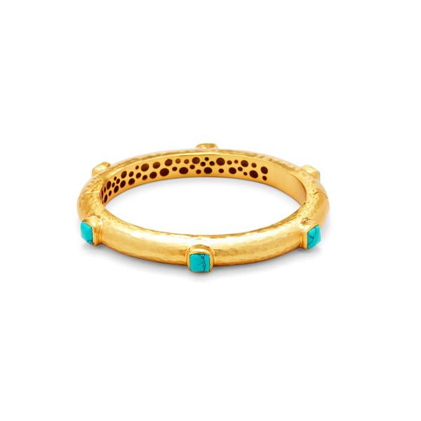 Catalina Hinge Bangle Gold Turquoise Blue-Julie Vos-Anna Cate Fine Fashion Jewelry