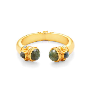 Catalina Hinge Cuff Gold Labradorite withLabradorite accents-Julie Vos-Anna Cate Fine Fashion Jewelry