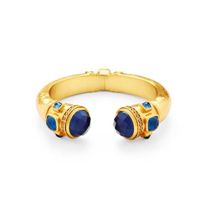 Catalina Hinge Cuff Gold Sapphire Blue Endcapsand accents-Julie Vos-Anna Cate Fine Fashion Jewelry