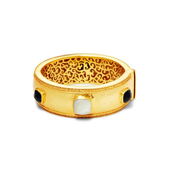 Catalina Statement Hinge Bangle Gold BlackOnyx and Mother or Pearl-Julie Vos-Anna Cate Fine Fashion Jewelry