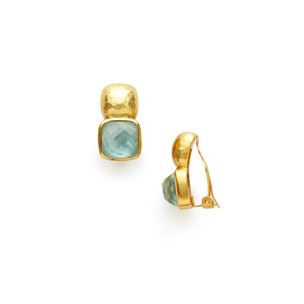 Catalina Clip-On Gold Iridescent Aquamarine-Julie Vos-Anna Cate Fine Fashion Jewelry