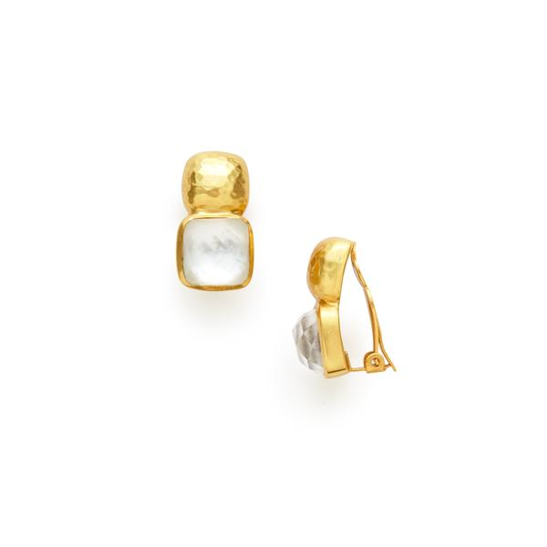 Catalina Clip-On Gold Iridescent Clear Crystal-Julie Vos-Anna Cate Fine Fashion Jewelry