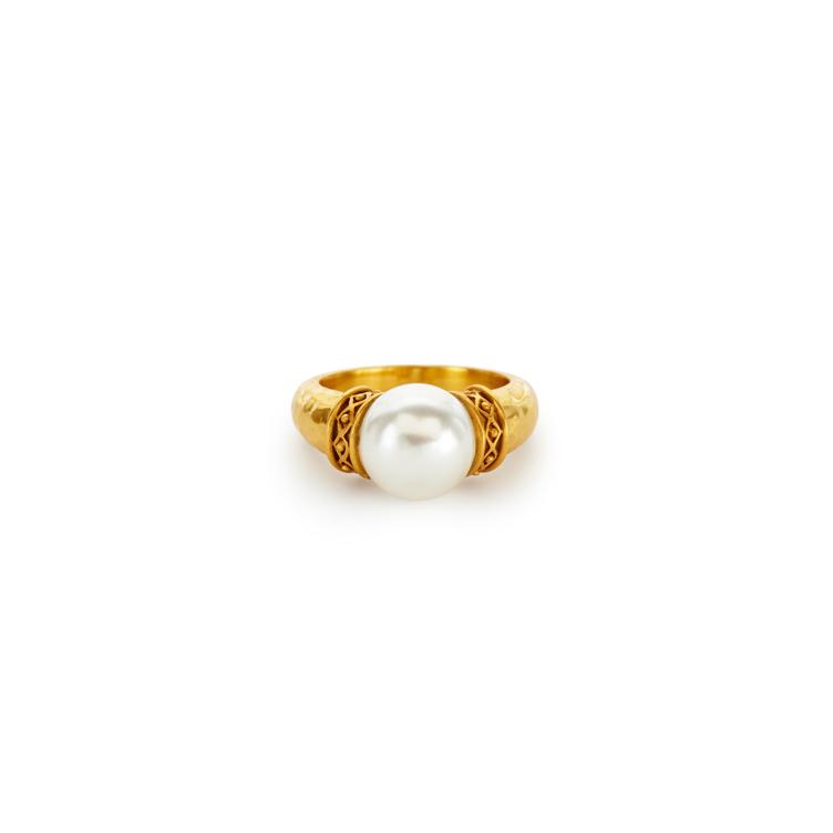 Catalina Ring Gold Pearl Size 7-Julie Vos-Anna Cate Fine Fashion Jewelry