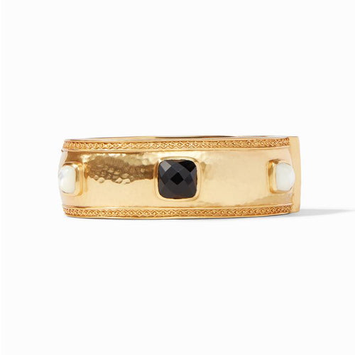 Catalina Statement Hinge Bangle Black and Pearl
