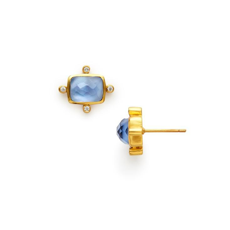 Clara Stud Gold Iridescent Chalcedony Blue-Julie Vos-Anna Cate Fine Fashion Jewelry