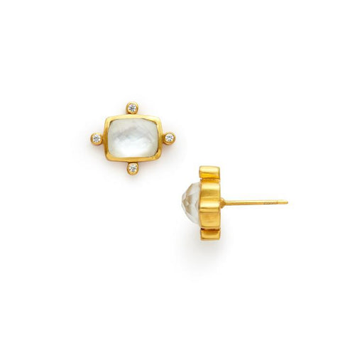 Clara Stud Gold Iridescent Clear Crystal-Julie Vos-Anna Cate Fine Fashion Jewelry