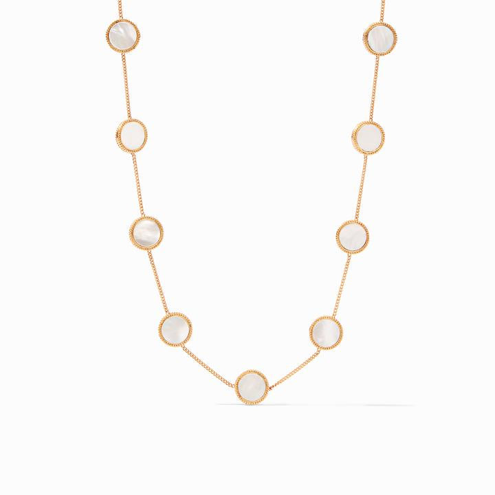Coin Demi Station Necklace Pearl