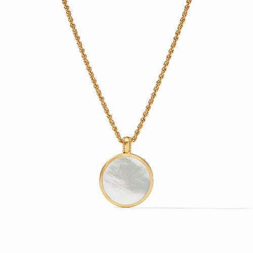 Coin Statement Pendant Gold Mother of Pearl
