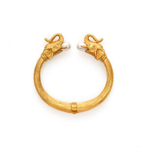 Elephant Hinge Bangle with Pearl