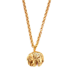 Elephant Pendant Gold Zircon-Julie Vos-Anna Cate Fine Fashion Jewelry