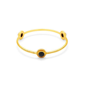 Florentine Stone Bangle Gold Black OnyxMedium-Julie Vos-Anna Cate Fine Fashion Jewelry