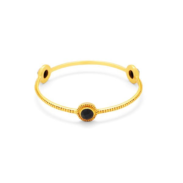 Florentine Stone Bangle Gold Black Onyx
