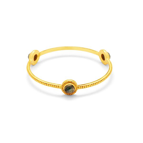 Florentine Stone Bangle Gold LabradoriteMedium-Julie Vos-Anna Cate Fine Fashion Jewelry