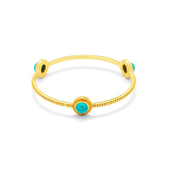 Florentine Stone Bangle Gold Turquoise BlueMedium-Julie Vos-Anna Cate Fine Fashion Jewelry