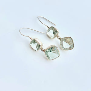 Green Amethyst Double cushion drop earring