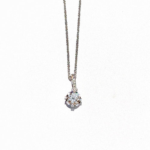 Drop Solitaire with Diamond Bell White Gold Necklace
