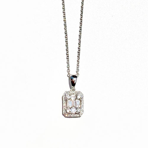 Rectangular Baquette Diamond White Gold Necklace