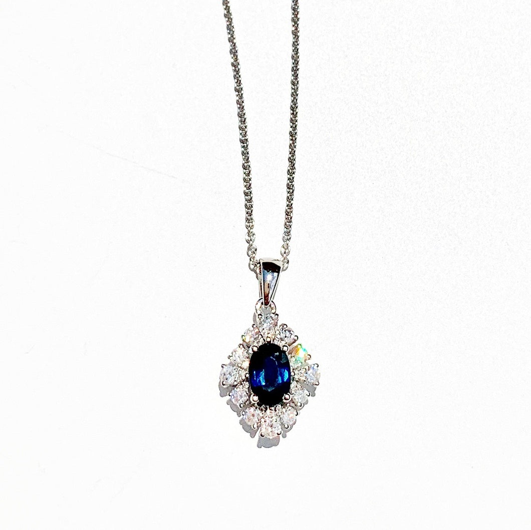 Blue Sapphire and Diamond White Gold Necklace