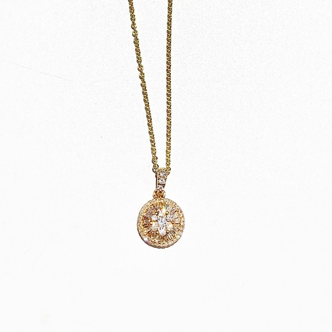 Flower Diamond Center with Baguette Halo 18k Gold Necklace