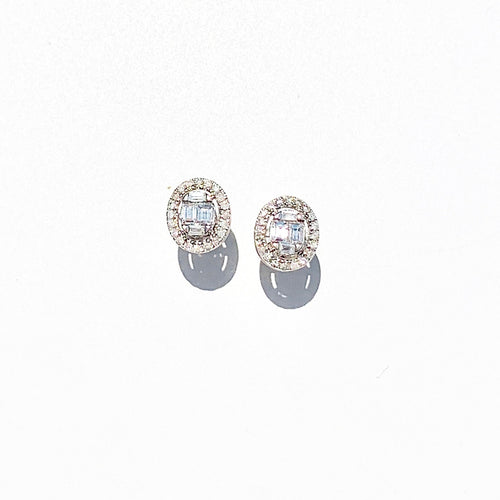 Oval Diamond White Gold Stud  Earrings