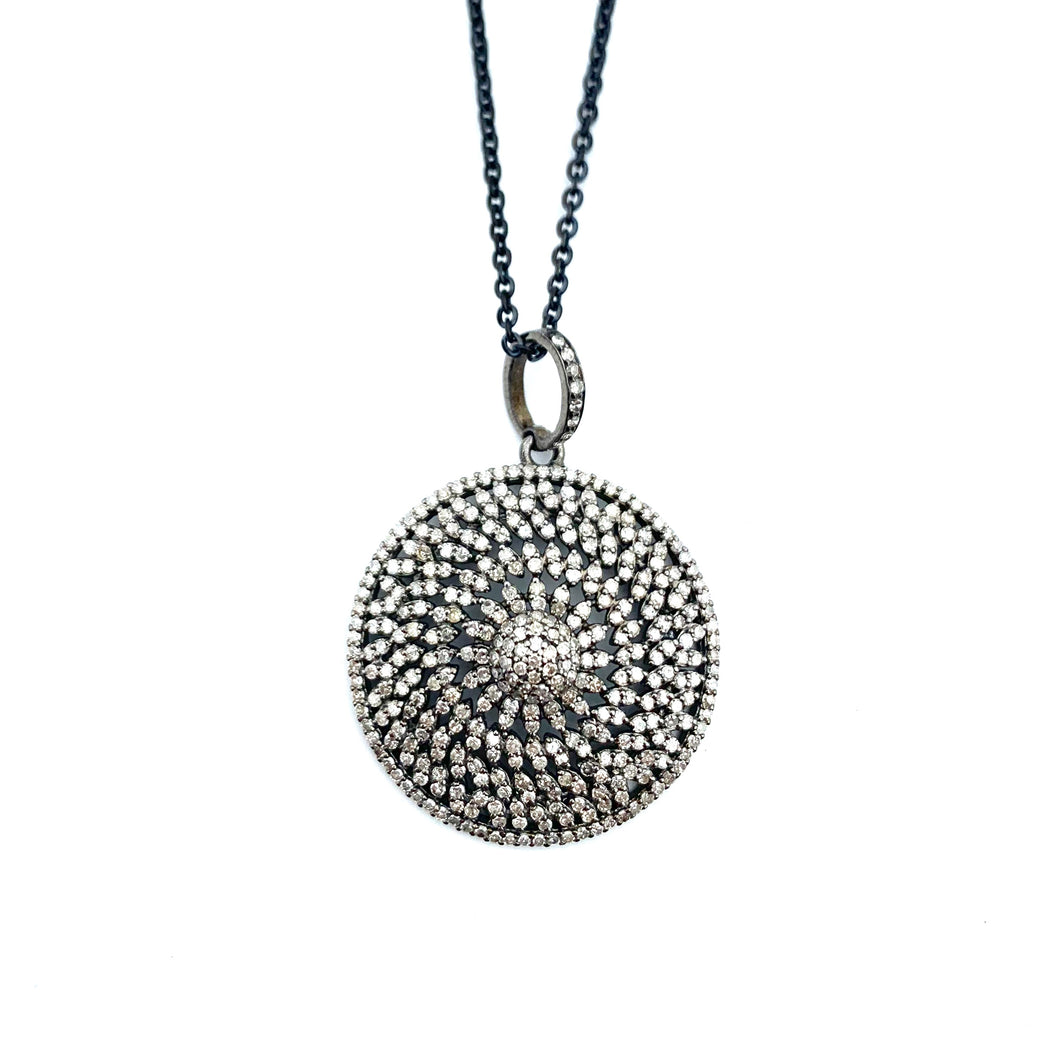 Pave Diamond Disc Enhancer on Chain