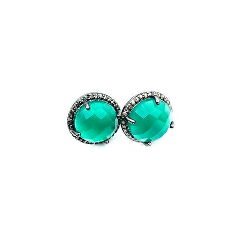 Green Oynx and Diamond Stud Earrings