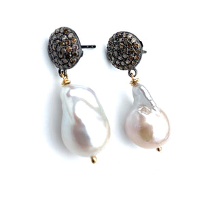 Freshwater Baroque Peal Earrings with Diamonds