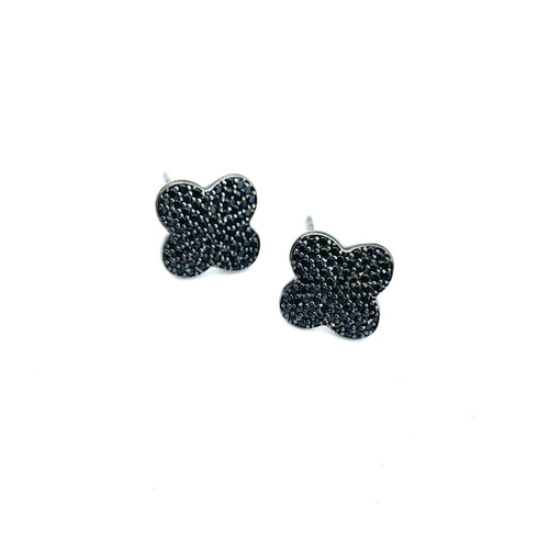 Black Spinel Clover Studs
