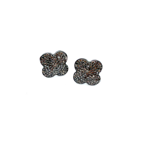 Diamond Clover Stud Earrings Blackened Rhodium